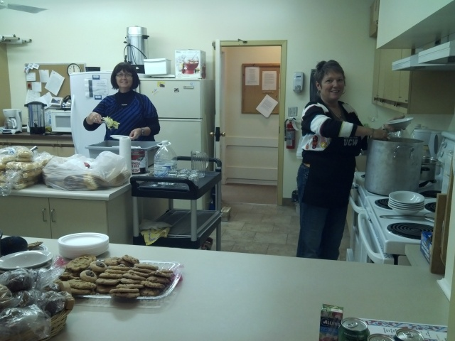 Volunteers cooking and baking for the very popular Tea Room